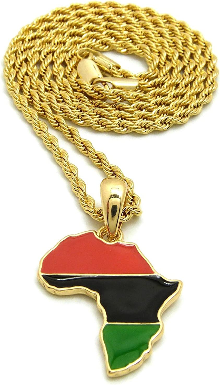 Gold-Tone NYFASHION101 Power Fist on Pan Africa Continent Micro Pendant w// 3mm 18 Rope Chain Necklace