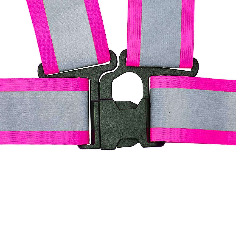Fahrrad Warnweste Reflektorweste Sicherheitsweste Flexibel Einstellbar Elastisch Ideal zur Erh/öhung der Sichtbarkeit f/ür Laufen Remebe Reflektierende Einstellbar Warnweste und Running Reflektorb/änder