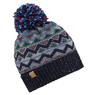 Cooper Fair Isle Knitted Pattern Wool Blend Bobble Hat (Brown or ... b282fc881d4