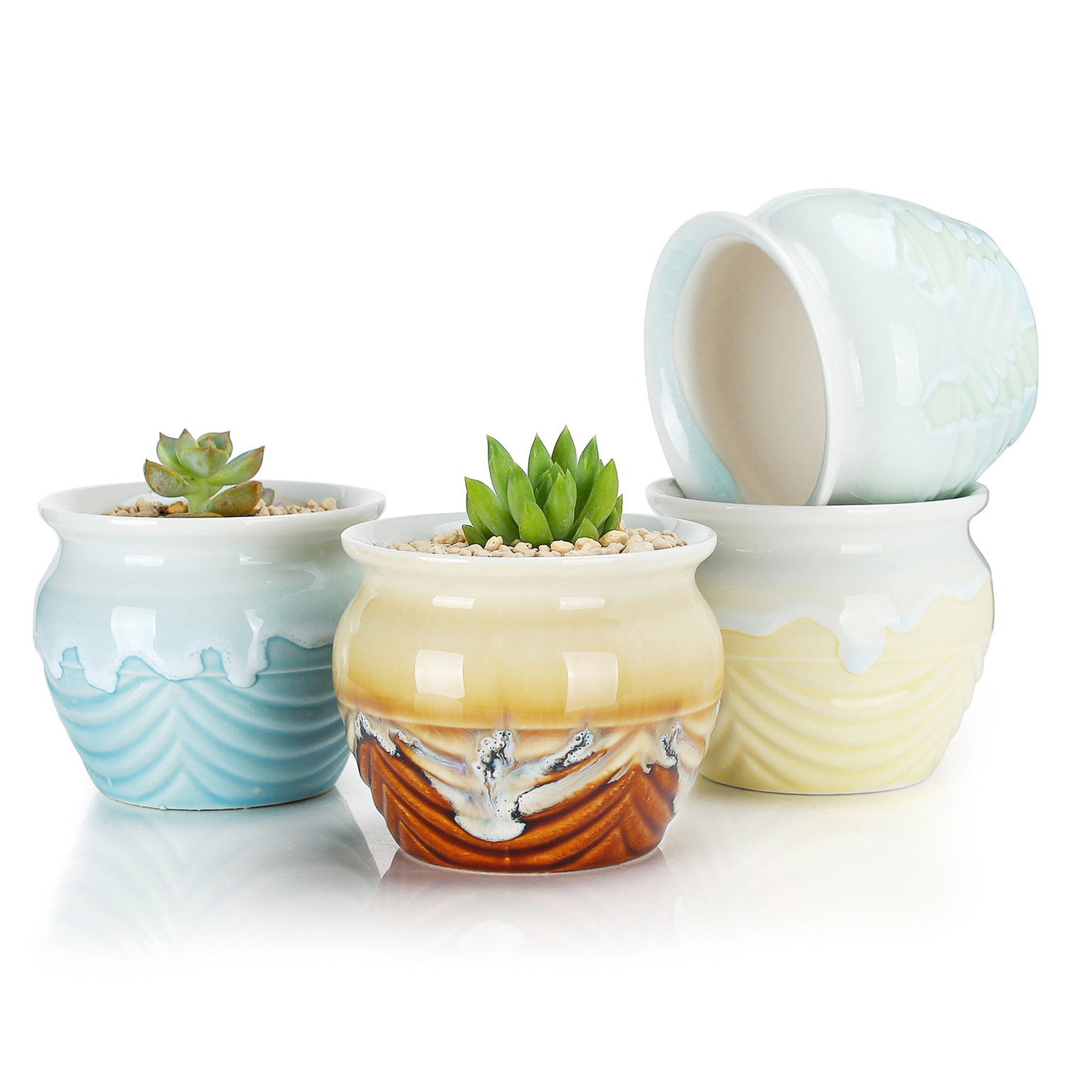 Greenaholics Succulent Plant Pots - 3.3 Inch Flowing Glaze Ceramic Pots, Cactus Planters, Flower Pots with Drainage Hole, 4 Colors, Set of 4