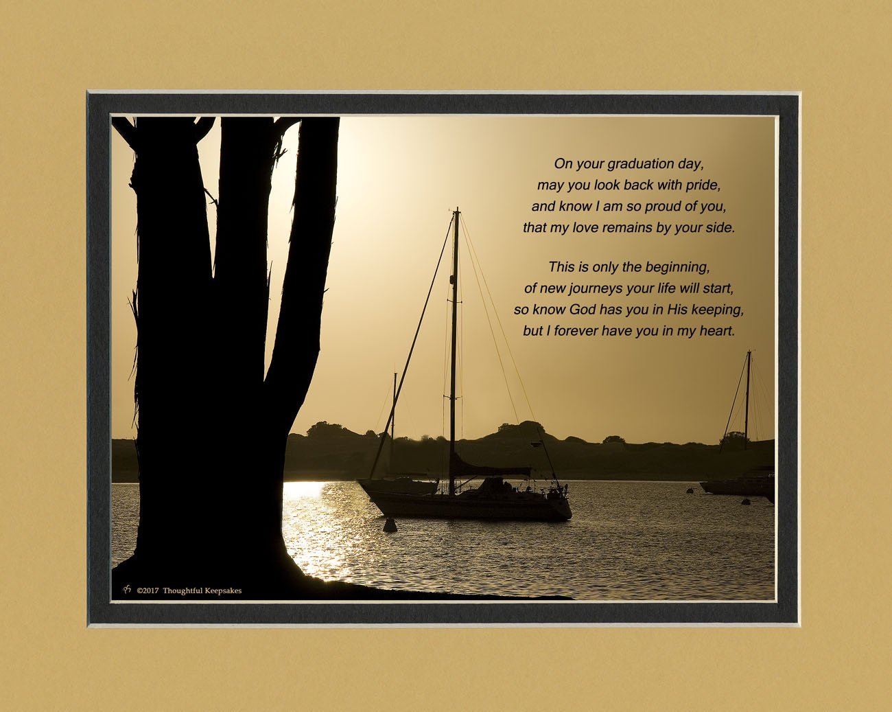 Graduation Gift ''On your graduation day, This is only the beginning, of new journeys your life will start'' Poem. Boats Photo, 8x10 Double Matted. A Special Keepsake Gift for Graduate.
