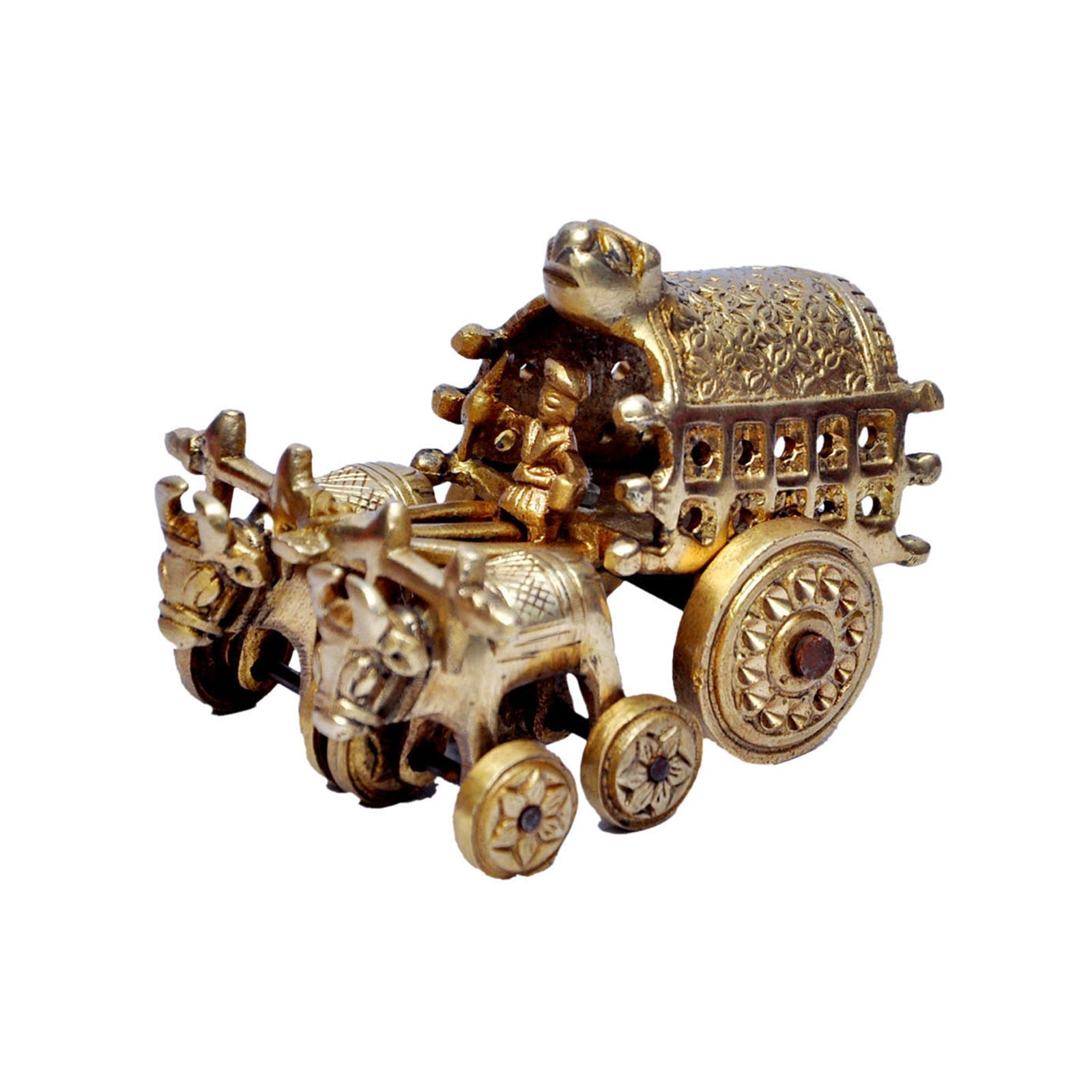 MP Crafts Brass Bull/Ox Cart Handicraft Idol Statue for Showpiece, Home Decor, Living Room, Festival, and Gift