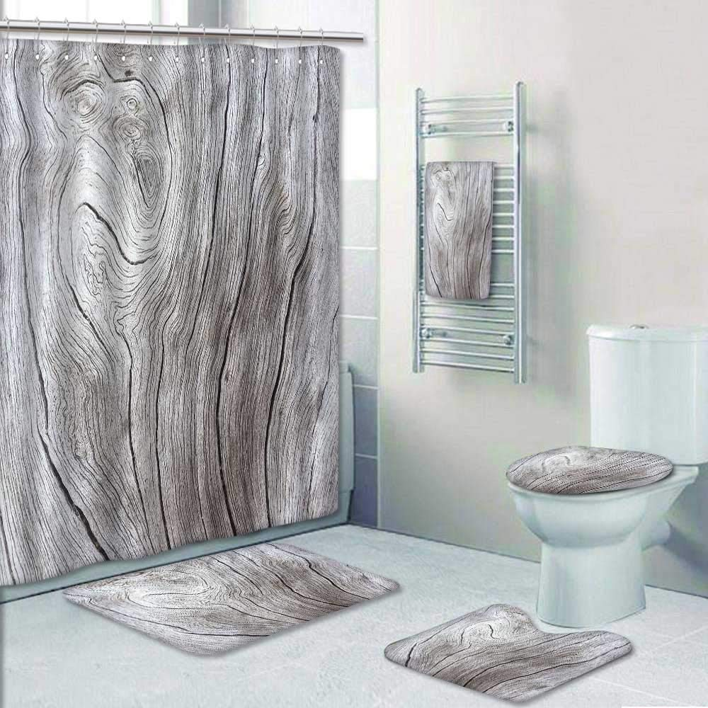 Philip-home 5 Piece Banded Shower Curtain Set Wooden Texture Close up Photo White and Grey Wood White Old Tree ne he sea Curves Pattern Printing Suit