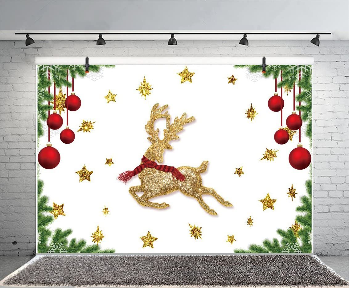 Leyiyi 8x8ft Photography Backdrop Vintage Merry Christmas Party Background Happy New Year Banquet Shining Spots Snowflakes Balls Photo Portrait Vinyl Video Studio Prop