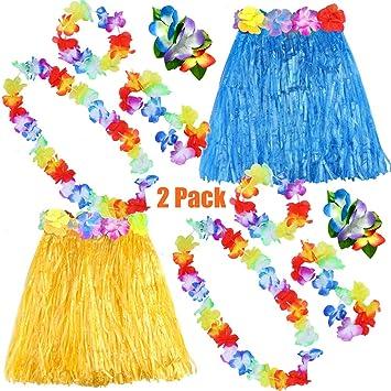 FEPITO 2 Conjunto Falda Hula de Hierba Hawaiana con Flor Leis Collar Diadema Pulseras Vestido de Traje Conjunto para niñas Mujer Luau Falda de Danza ...