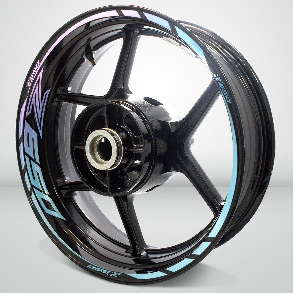 Reflective Silver Motorcycle Rim Wheel Decal Accessory Sticker For Kawasaki Z650