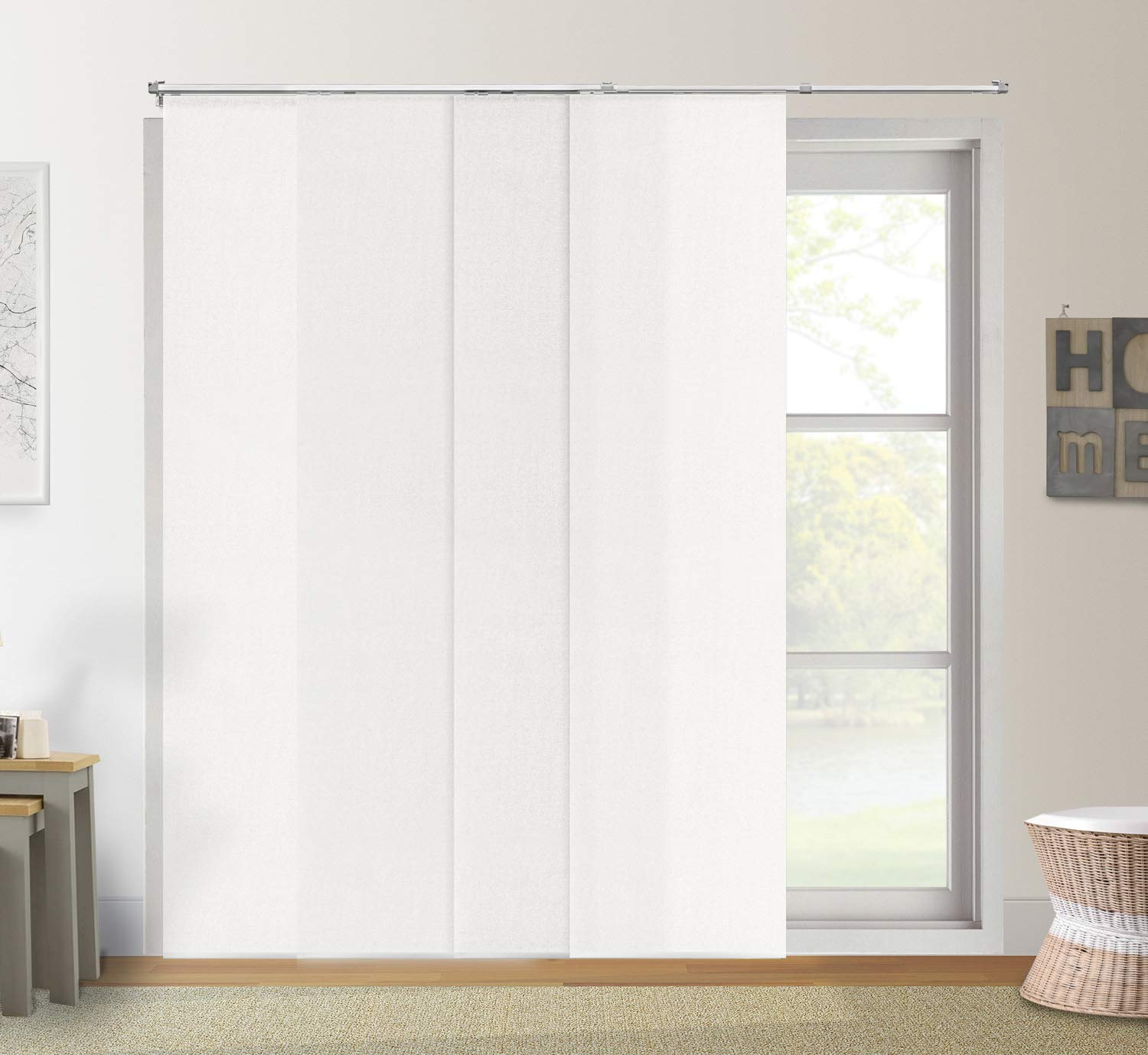 Chicology Adjustable Sliding Panels/Cut to Length, Curtain Drape Vertical Blind, Light Filtering, Privacy, Daily Grey DRSPDG1