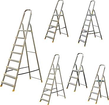 Escalera aluminio – Escalera plegable aluminio 3 hasta 8 peldaños (diferentes tamaños): Amazon.es: Bricolaje y herramientas