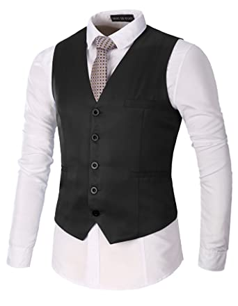 AOYOG Mens Business Suit Vests Waistcoat Slim Fit for Suit Or Tuxedo,  Black, Small