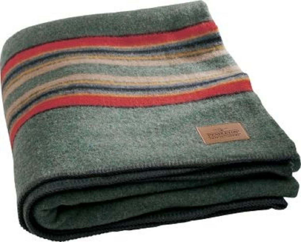 Pendleton Yakima Twin Camp W Carrier Blanket One Size Green Heather Amazon Co Uk Kitchen Home