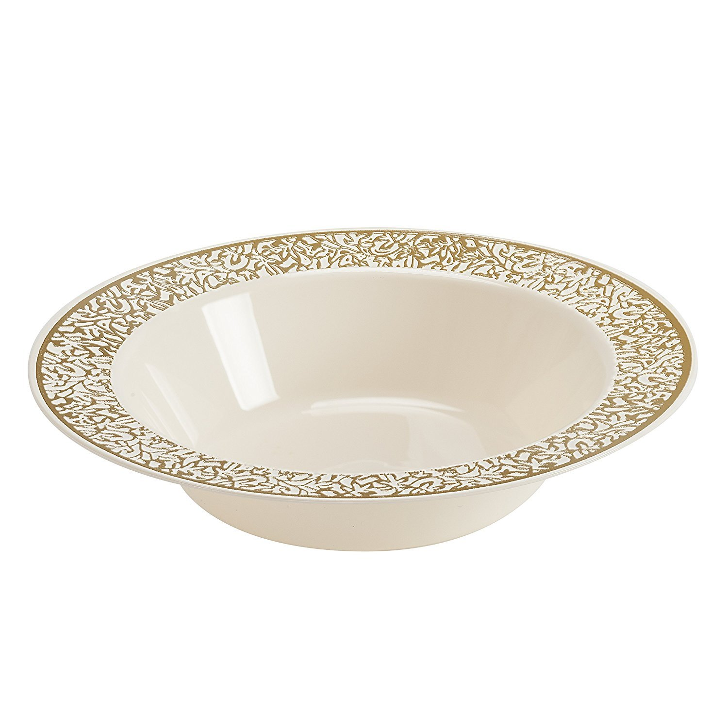 Disposable Plastic Bowls | Premium Quality Ivory & Gold Dinnerware With Golden Lace Rim | Excellent for Weddings, Baby & Bridal Showers, Parties & More | Heavy Duty 12 Ounce Bowl | 40 Count by PARTY BARGAINS