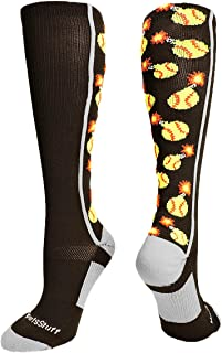 product image for MadSportsStuff Softball Socks with Bombs - Bombers - for Girls or Women - Athletic Over The Calf Socks