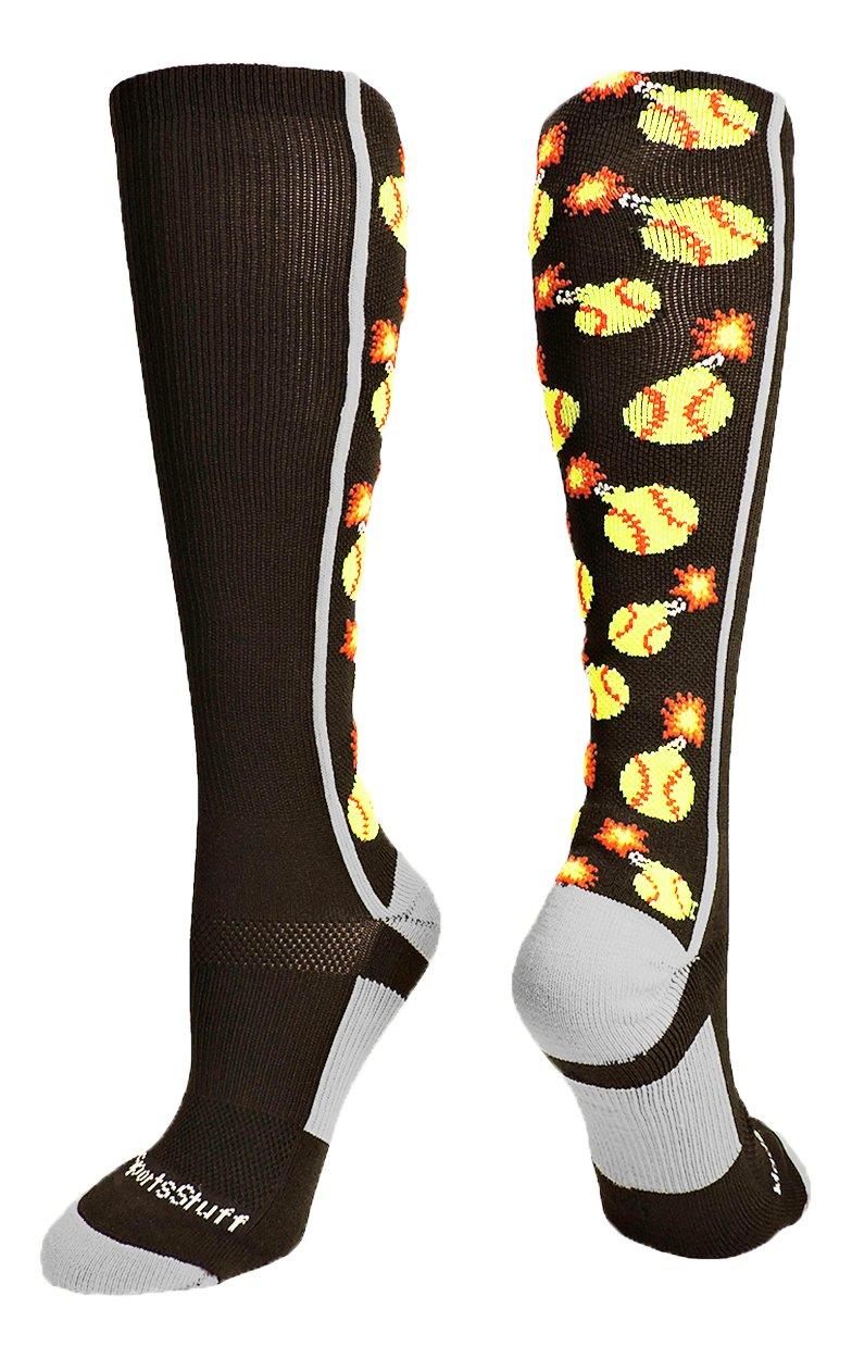 MadSportsStuffソフトボールBomber Over The Calf Socks複数色 B071S3VTK8 Large|ブラック/グレー ブラック/グレー Large