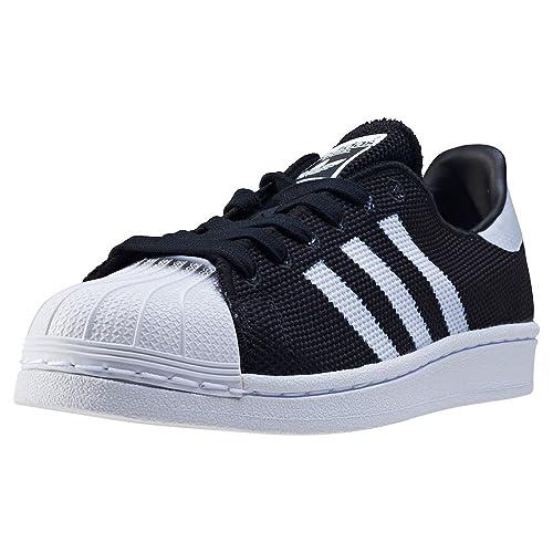 Details about ADIDAS Superstar J sneakers sport laces TEXTILE BLACk WHITE BB2965