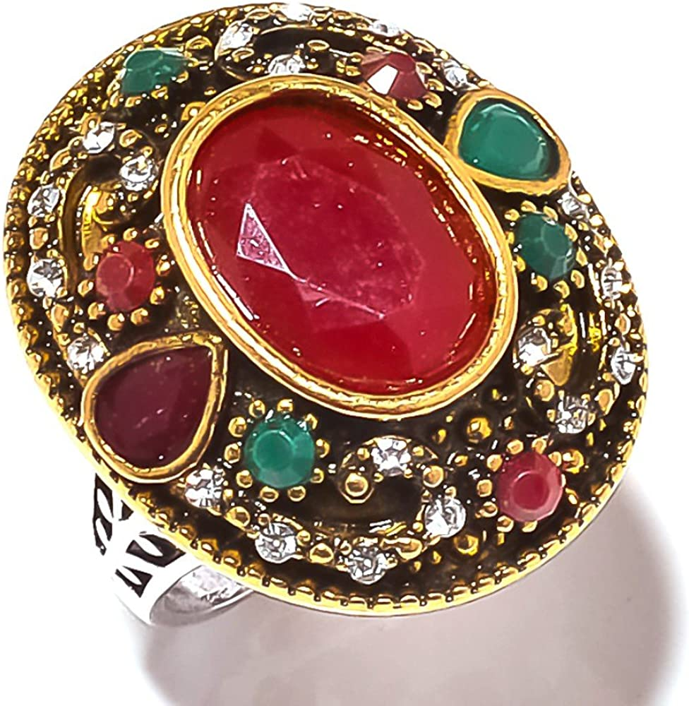 Gift Jewelry Red Dyed Ruby Handmade Jewellry 925 Sterling Silver Plated 5 Grams Ring Size 8.5 US