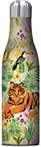 Studio Oh! 17 oz. Insulated Stainless Steel Water Bottle Available in 10 Different Designs, Eli Halpin La La La Llama Tiger Jungle Tiger Jungle