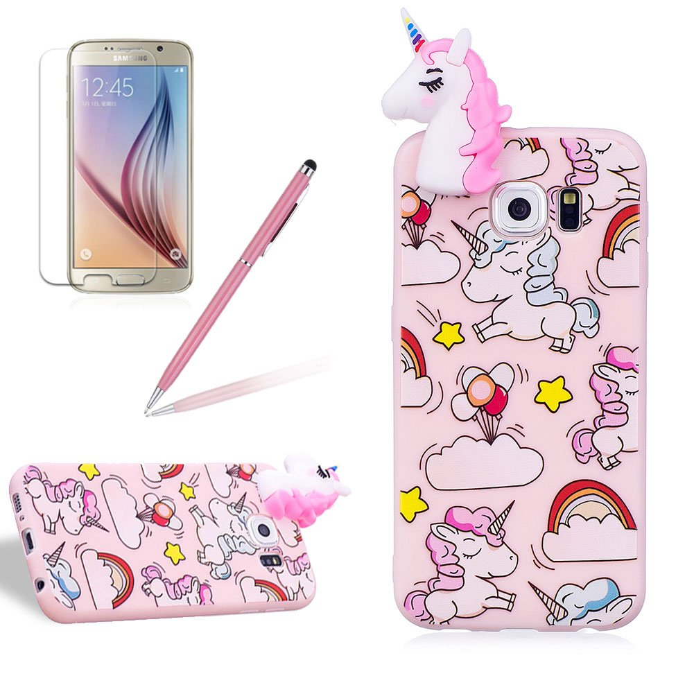 for Samsung Galaxy S6 Case, Girlyard New Fashion Girly Lucky 3D Cute [Papa Animal Pattern] Soft Silicone Practical Shockproof Slim Protective Back Case Cover for Samsung Galaxy S6-Pink Rainbow Horse