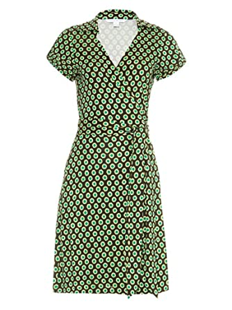 db797750d00 Amazon.com  Diane von Furstenberg JILDA Wrap Silk Dress in SPRING DOTS GREEN   Clothing