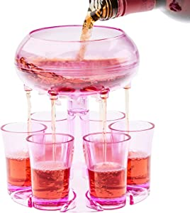 Shot Dispenser With 6 Glasses, Lareina 6 Shot Acrylic Glass Dispenser and Holder for Liquids, Drinks, Beverages and Cocktail for Drinking Games, Parties and Bars, Food Grade Material -Purple