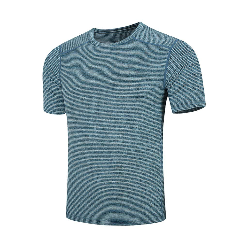 Men Sports Athletic T-shirts O-neck  Tee Shirts Breathable Fast-dry Tops