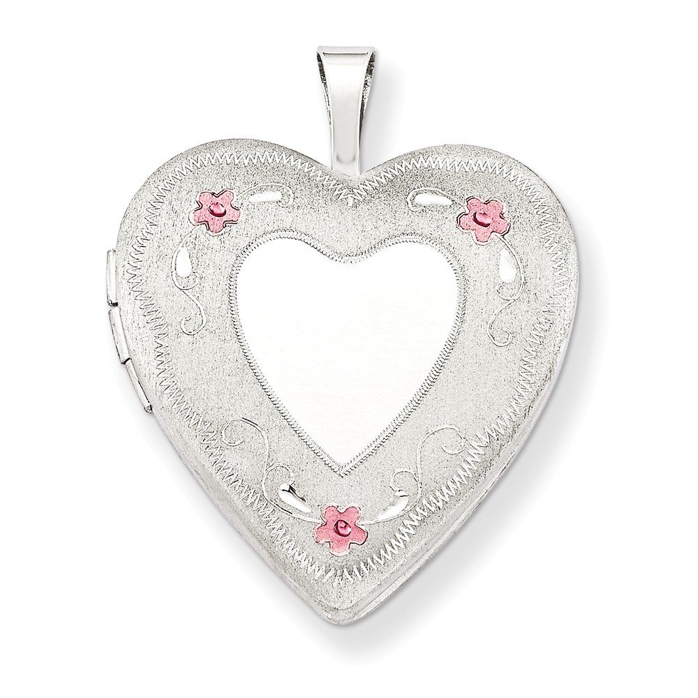 925 Sterling Silver 20mm Enameled Roses Heart Photo Pendant Charm Locket Chain Necklace That Holds Pictures W/chain Fine Jewelry Gifts For Women For Her by ICE CARATS