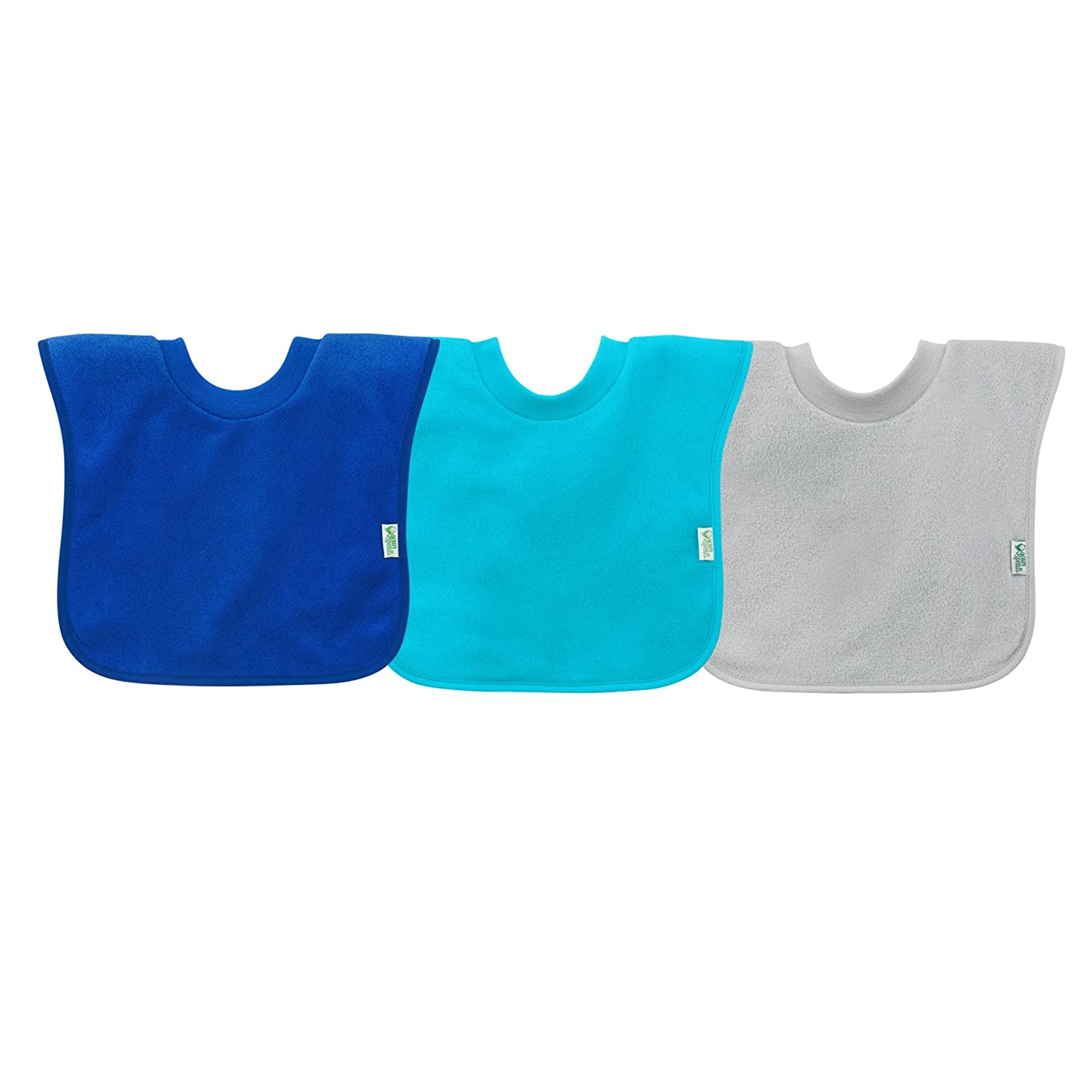 green sprouts Pull-Over Stay-Dry Bibs (3 Pack) | Convenient Stay-Put Protection | Wide Coverage & Waterproof Protection, Stretchy Collar, Machine Washable iPlay 101100-602-25
