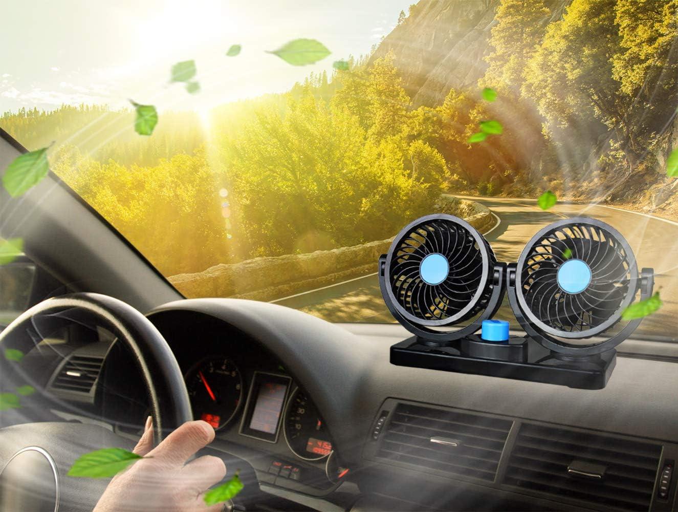 Dual Head 2 Speed 12V Cooling Air Circulator Electric Car Fan Latest 360 Degree Rotatable Auto Fan for Sedan SUV//RV//Boat//Auto Vehicles