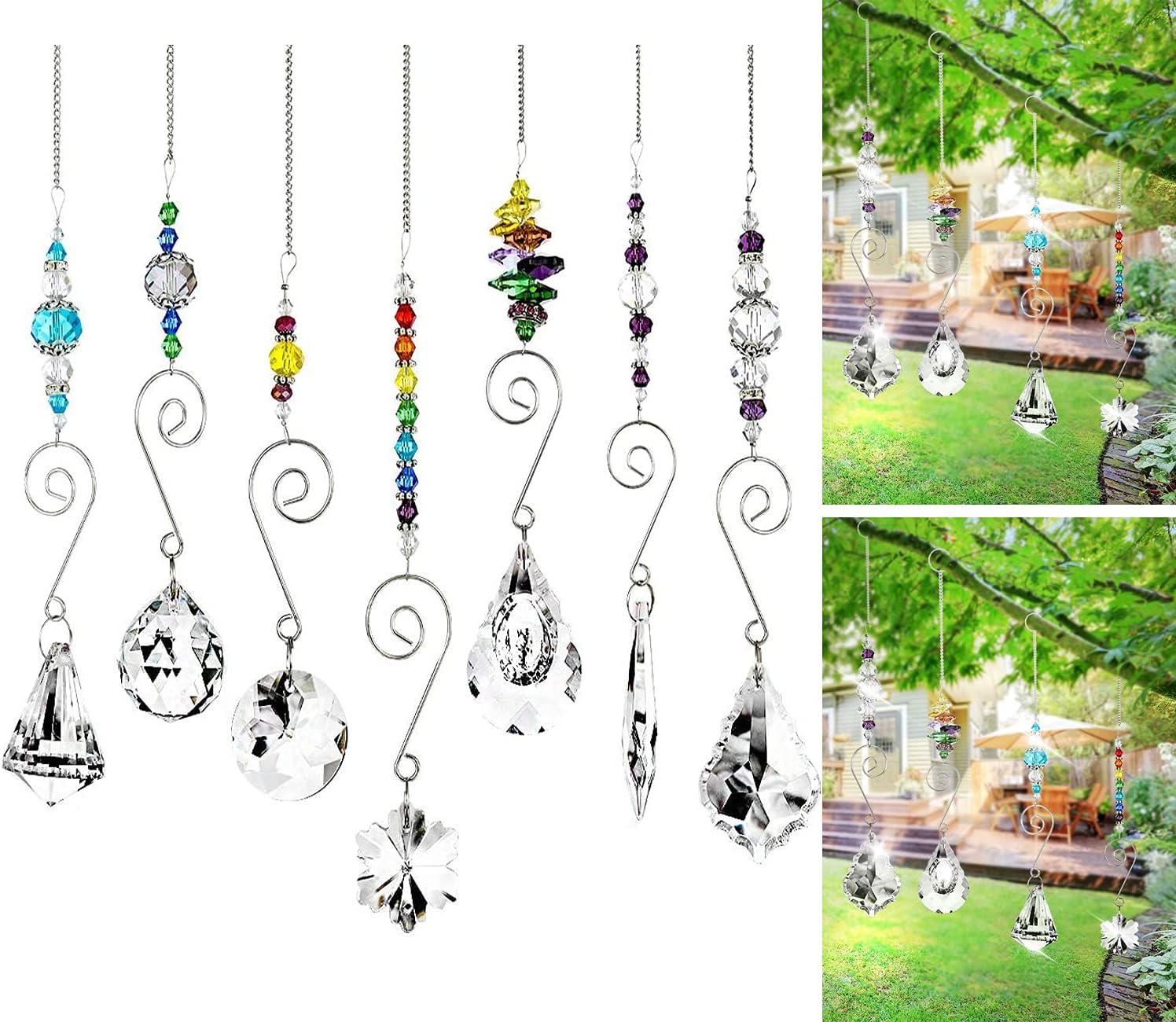 7 Pieces Crystal Suncatcher, Colorful Suncatcher Hanging Ornament Rainbow Maker for Gift, Garden Decoration, Window, Home, Office, Plants, Cars, Wedding, Feng Shui Decor