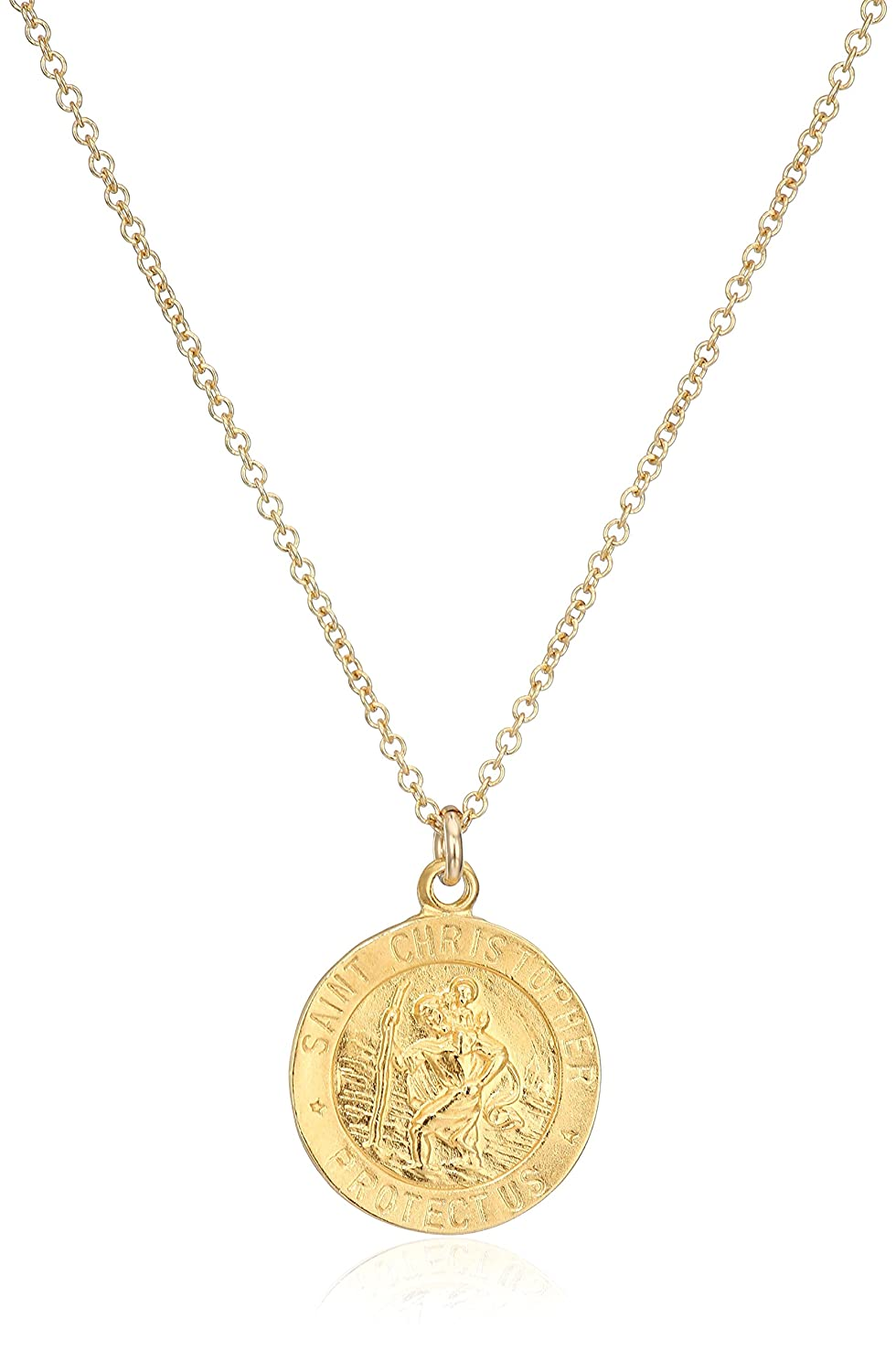 Amazon dogeared reminders saint christopher gold dipped amazon dogeared reminders saint christopher gold dipped sterling silver saint christopher disc charm necklace 162 extender jewelry aloadofball Gallery