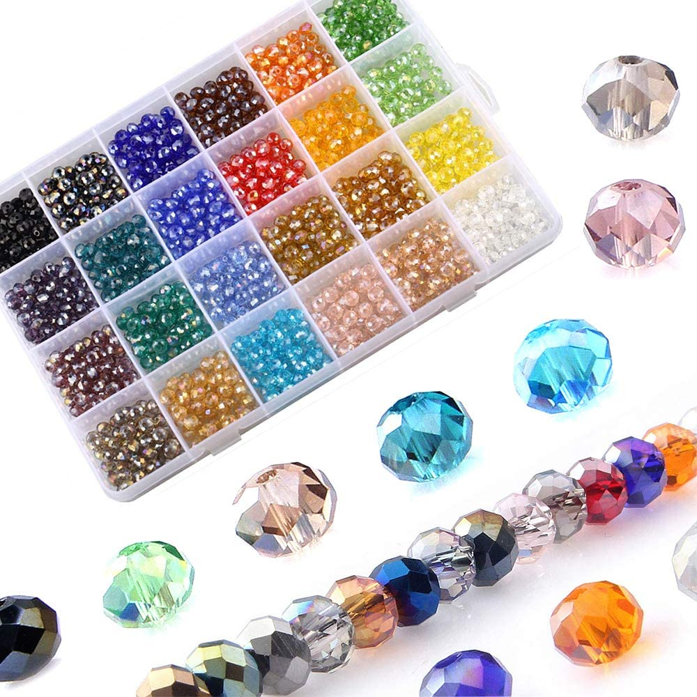 LABOTA 1200pcs Cuentas de cristal facetado para Collar Pulsera Manualidades Bricolaje, 24 colores