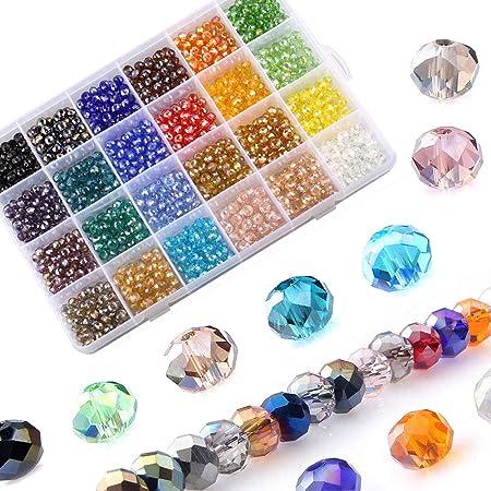 150 Glas Perlen Rund Mehrfarbig Facettiert Beads zum Basteln 8mm