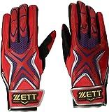 ZETT(ゼット) バッティンググローブ プロステイタス プロモデル 両手用 レット×ネイビー(6429) シングルベルト BG796AL