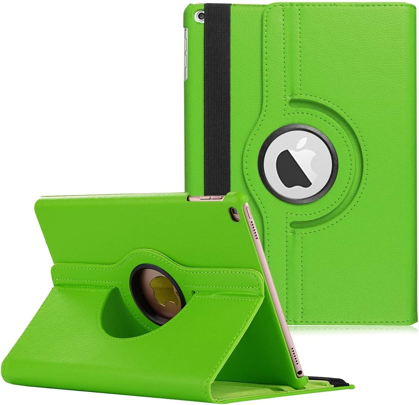 "New iPad 2017 9.7"" / iPad Air 2 Leather Case,360 Degree Rotating Stand Smart Cover with Auto Sleep Wake for Apple iPad Air or New iPad 9.7 Inch 2017 Tablet (Green)"