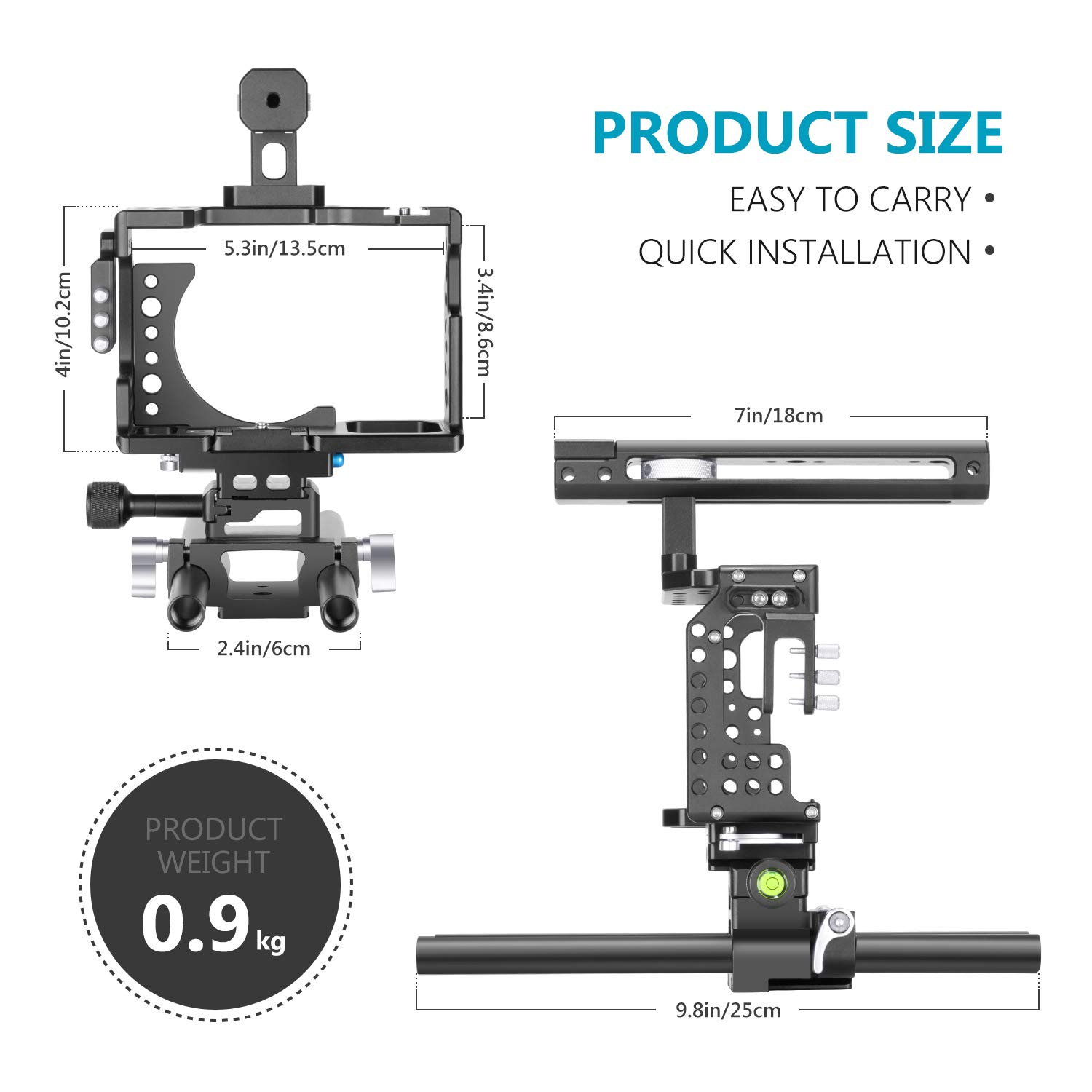 with Top Handle Grip and Cold Shoe Mount Neewer Camera Video Cage Rig Compatible with Sony A7RIII//A7III Camera Aviation Aluminum Design for Video Film Movie Making