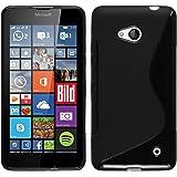 Funda de silicona para Microsoft Lumia 640 - S-Style negro - Cover PhoneNatic Cubierta + protector de pantalla