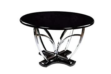 Furniture Of America Hayden Round High Gloss Lacquer Dining Table, Black