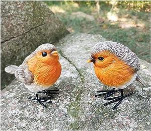 JniGonos Resin Robin Bird Garden Decoration Statues for Yard and Patio Lawn Home