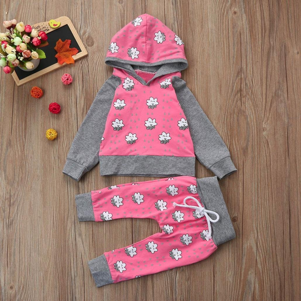 Toddler Baby Girls Boys Cloud Print Hoodie Tops+Pants 2Pcs Cute Outfits Clothes DIGOOD 0-18 Months Baby