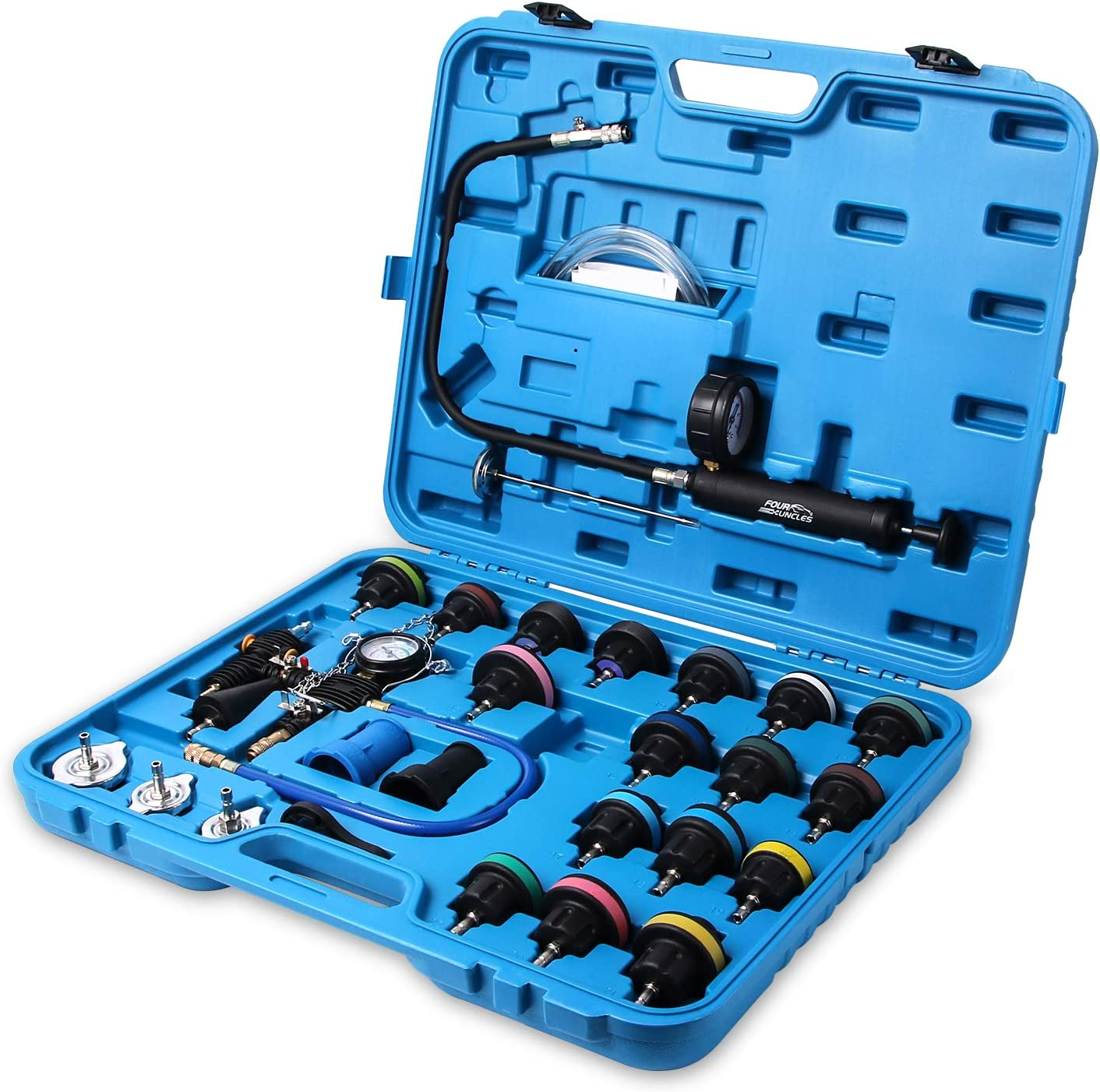 FOUR UNCLES 28 Pieces Radiator Pressure Tester, Coolant Pressure Tester Kit Cooling System Pressure Tester Kit with Carrying Case Blue