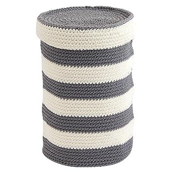 InterDesign Ellis Knit Toilet Paper Storage Canister, Grey/Ivory