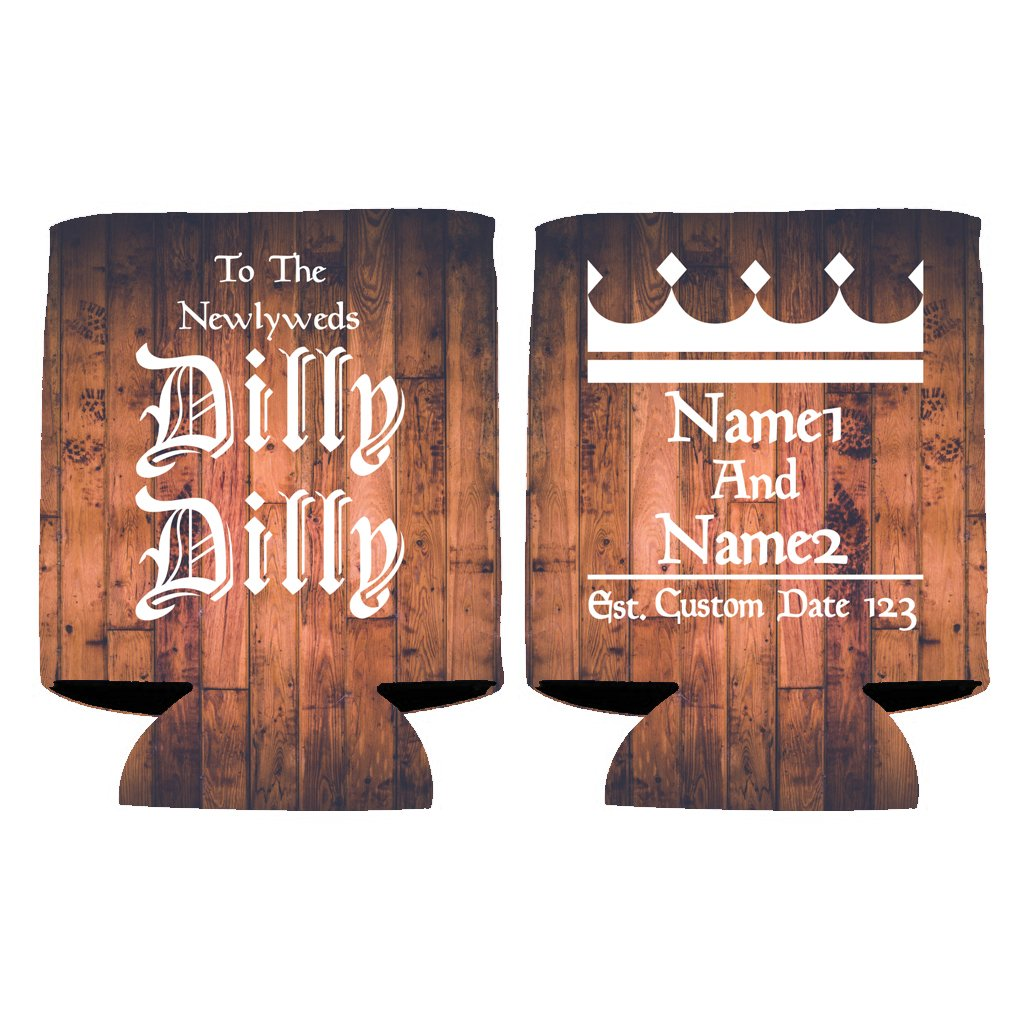 Custom Wedding Can Cooler- To The Newlyweds Dilly Dilly - Dilly Dilly Wedding Theme Can Coolers (150)
