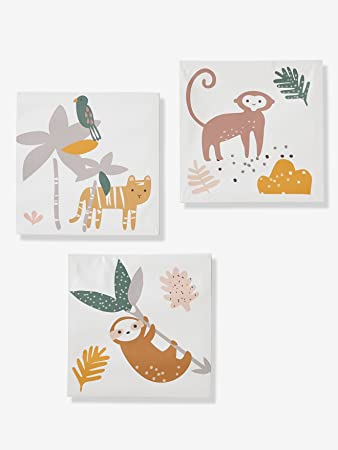 Vertbaudet Kinderzimmer | Vertbaudet 3er Set Bilder Fur Kinderzimmer Dschungel Mehrfarbig One