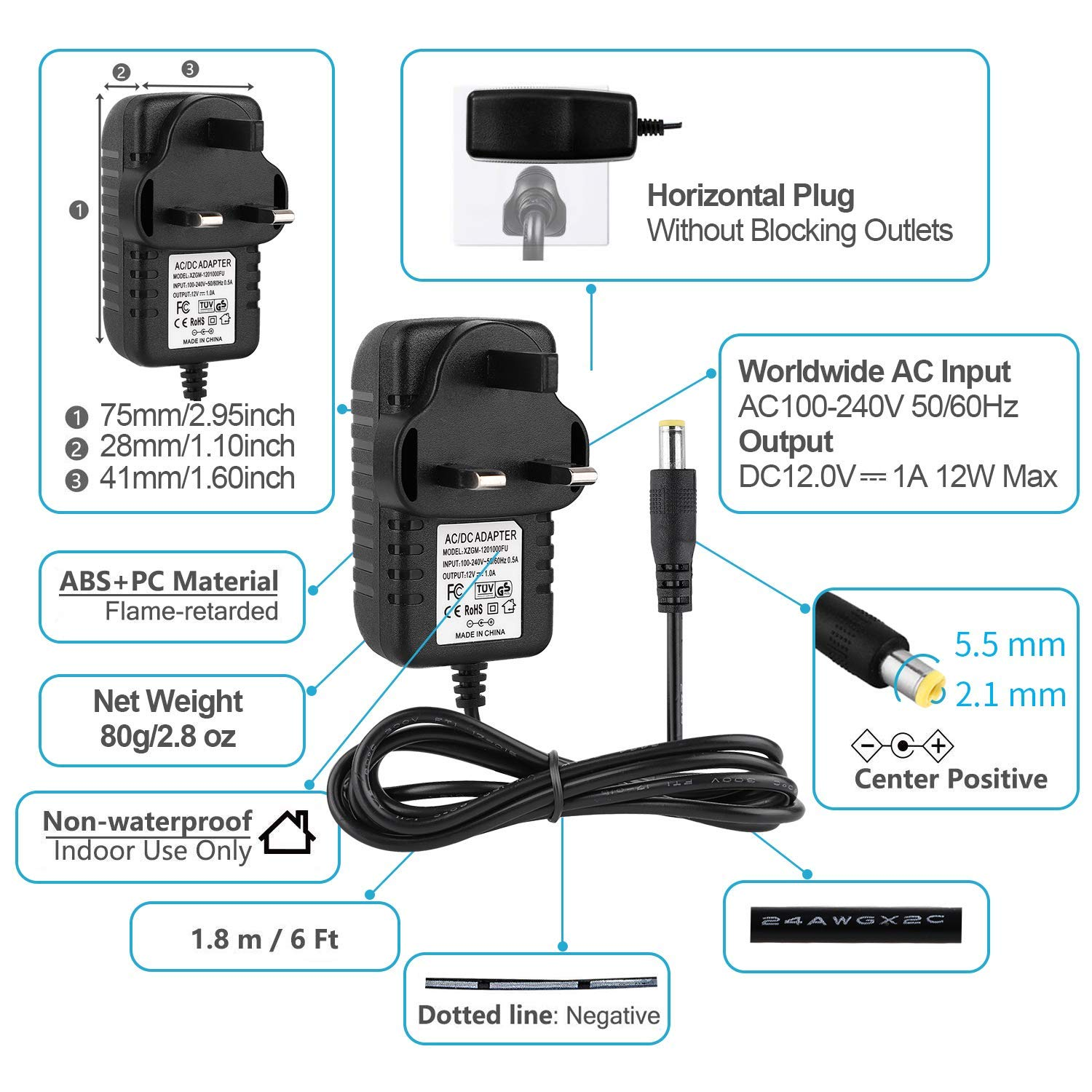 EFISH LED Lighting Power Supply,12V 1A 12W Power Adapter with 9 Selectable Adapter Conversion Heads