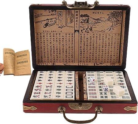 AUKBEC Mah Jong Gift Set Mahjong Juego de Mesa portátil de 144 fichas Completo Profesional Fina de Viajes China reuniones Familiares Juguete Tallado antigüedad: Amazon.es: Hogar