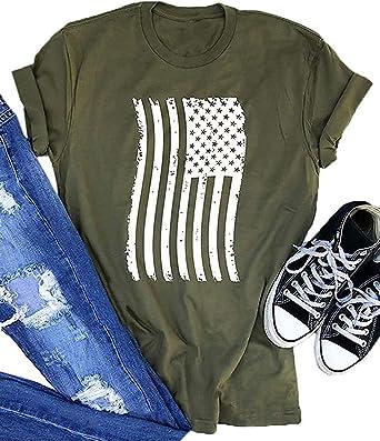 AMOFINY Womens White Blouses Short Sleeve Patriotic Stripes Star American Flag Print T-Shirt Tops