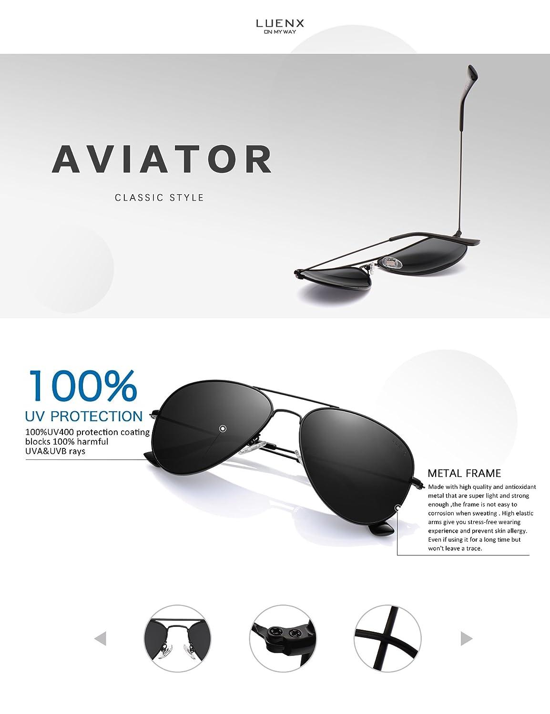 LUENX Herren Sonnenbrille Aviator Polarisiert mit Etui - UV 400 Schutz Spiegel Silber Linse Silber Rahmen 60mm mcDvcIecWv