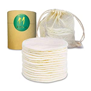 Reusable Makeup Remover Pads, Eco-friendly Natural Bamboo Cotton Rounds, Washable Microfiber Facial Makeup Remover Wipes for Mascara, Eye Shadow, etc, with Laundry Bag,16 Pack, Double-texture Design