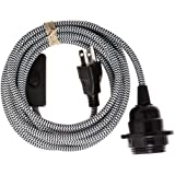 Swag Light - Hanging Pendant Light Cord Kit by Color Cord Company - Choose from 30+ colors - Black & White ZigZag