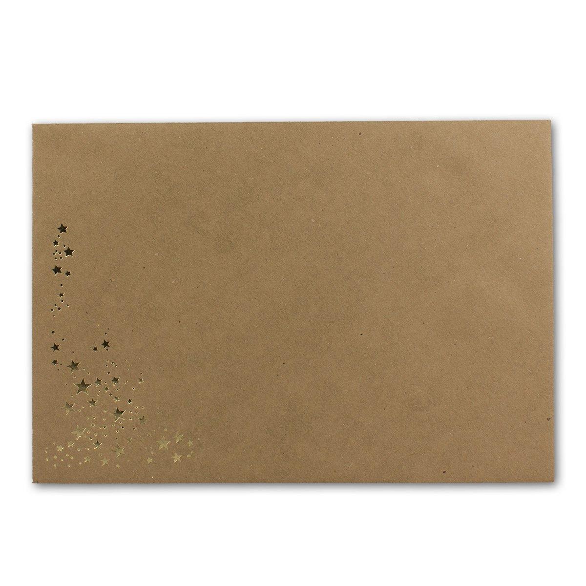 500x Weihnachts-Briefumschläge   DIN C5     mit Gold-Metallic geprägtem Sternenregen, festlich matter Umschlag in Sandbraun   Nassklebung, 120 g m²   157 x 225 mm   Marke  GUSTAV NEUSER® B07CKW2FWQ | Mittlere Kosten  | Guter Markt  | Gr a06138