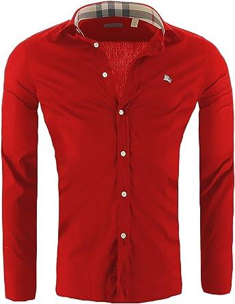 BURBERRY BRIT Camisa para Hombre de Corte Ajustado, Tamaño:S, Color:Chimenea Roja: Amazon.es: Ropa y accesorios